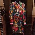 Alta qualidade 2017 nova primavera pista verão designer dress mulheres manga lanterna do vintage arco floral impressão vestidos de seda vestidos