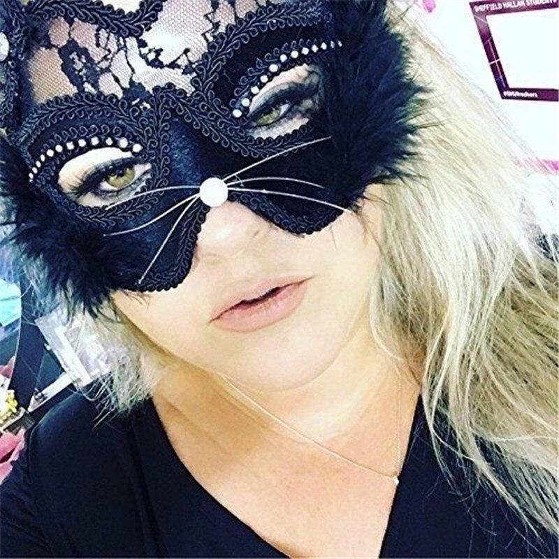 Luxury Venetian Masquerade Mask Women Girls Sexy Lace Black Cat Eye Mask for Fancy Dress Christmas Halloween Party