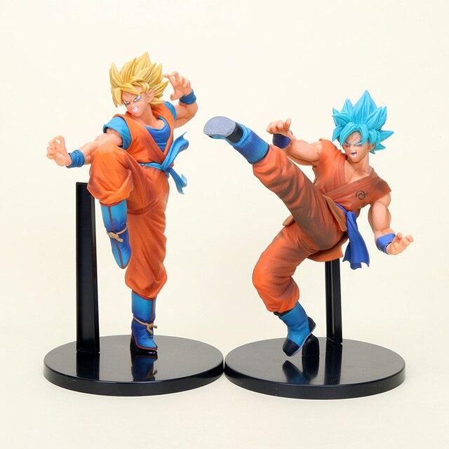2 pçs/set Super Dragon Ball Figura Volume 1 Fes Son Goku Super Saiyan Deus Amarelo Azul Cabelo Goku Figura de Ação PVC Modelo Brinquedos