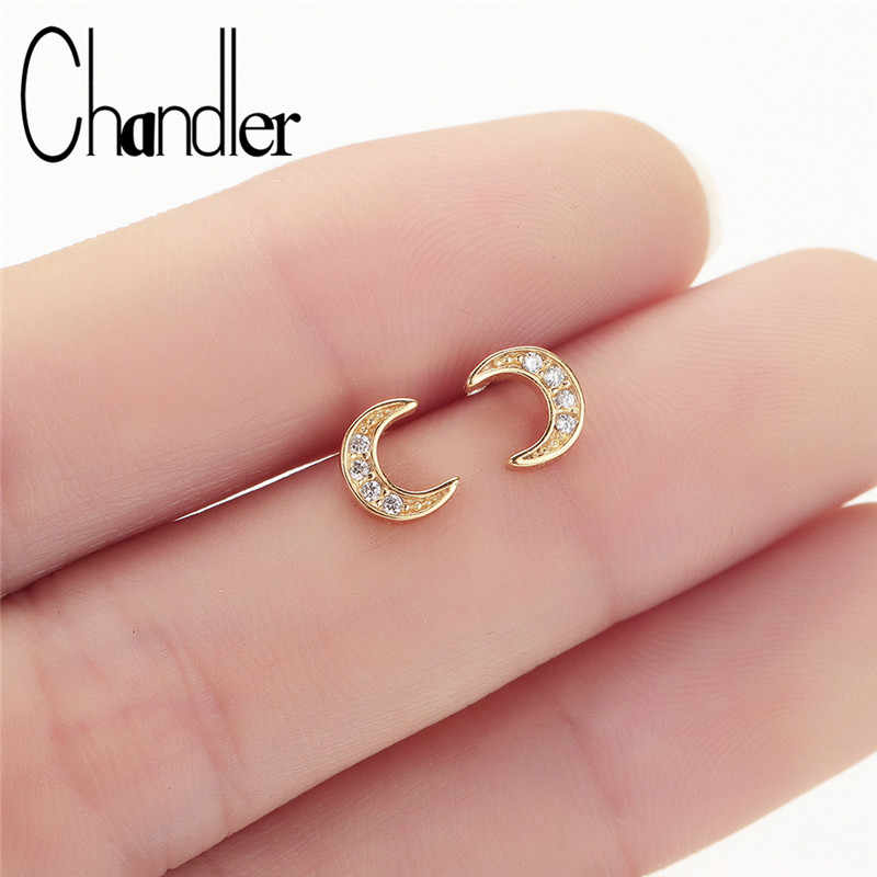 Chandler Hot Sailor Moon Earrings Crescent Moon Stud With Cubic Zircon Moon Ear Earing Pendients Daily Jewelry Best Small Gift