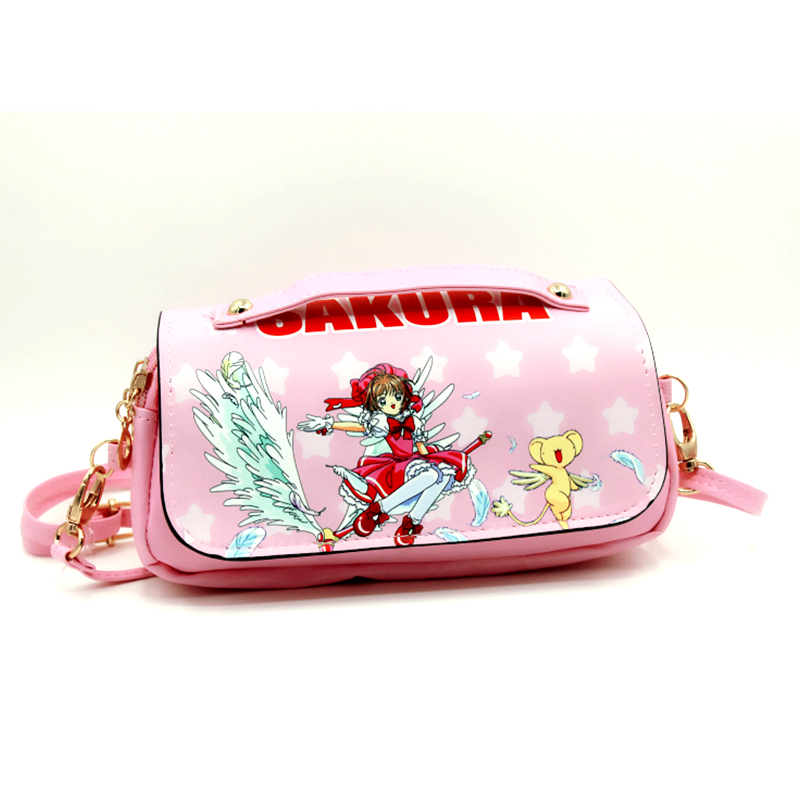 doulbe zip women bags with shoulder strap Sakura Sailor Moon Kinomoto totes ccs make up case school case