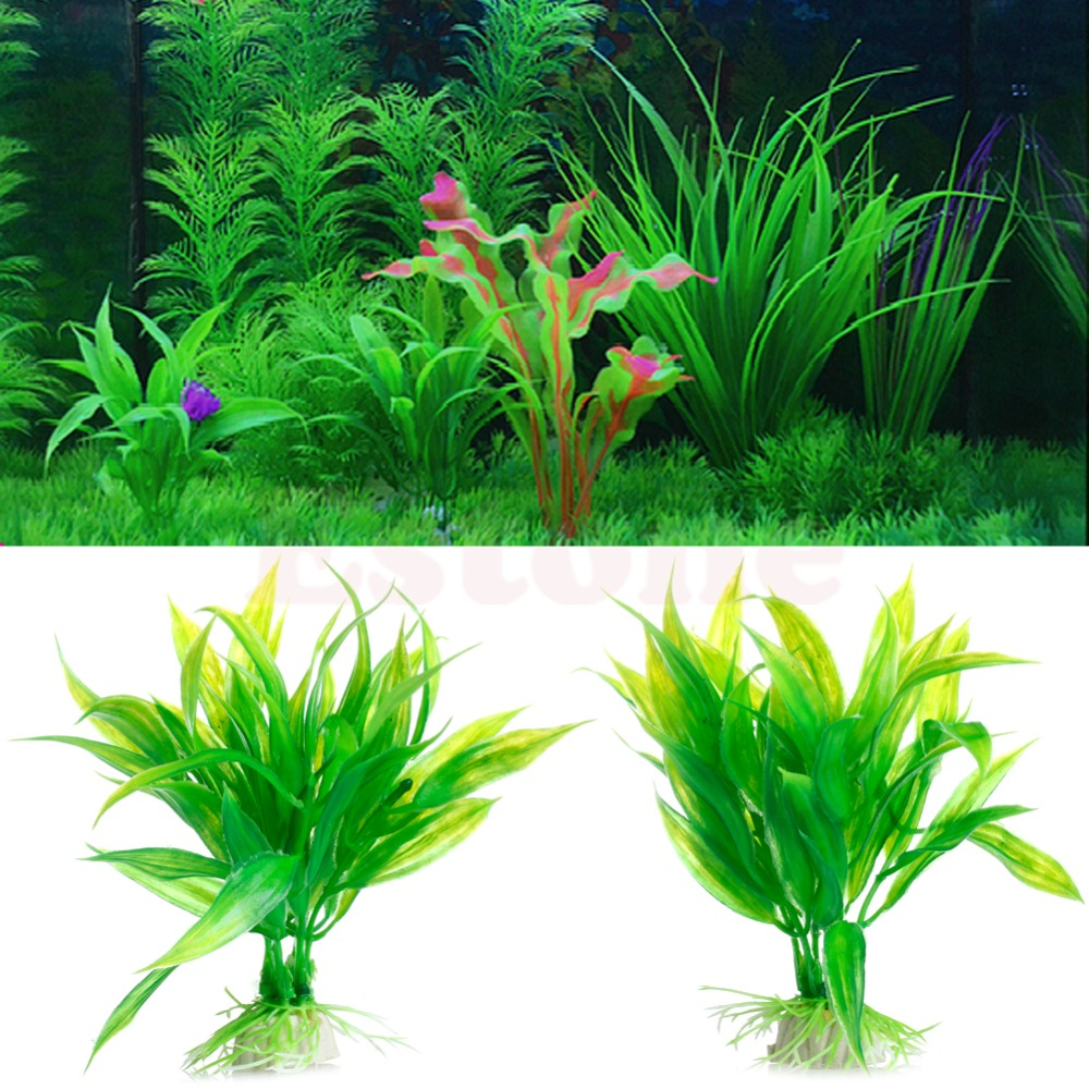 Green Artificial Plastic Water Grass Plant Ornament Fish Tank Aquarium Decor W210