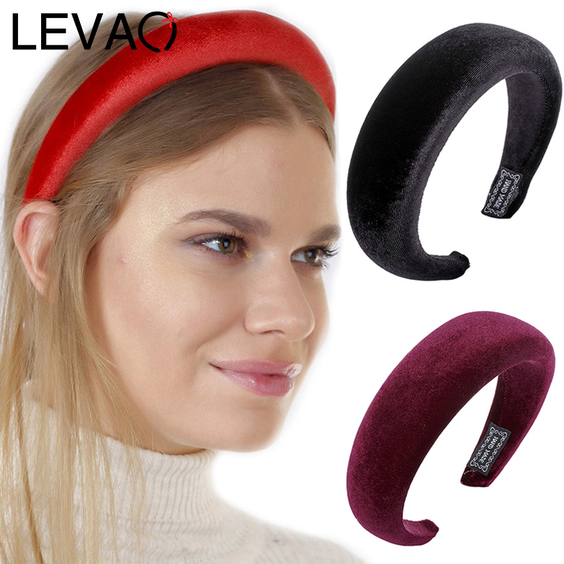 LEVAO Gold Velvet Western Style Solid Colors Thicken Padded Hairbands Bezel Turban Women Headbands Girls Accessories   Headwear
