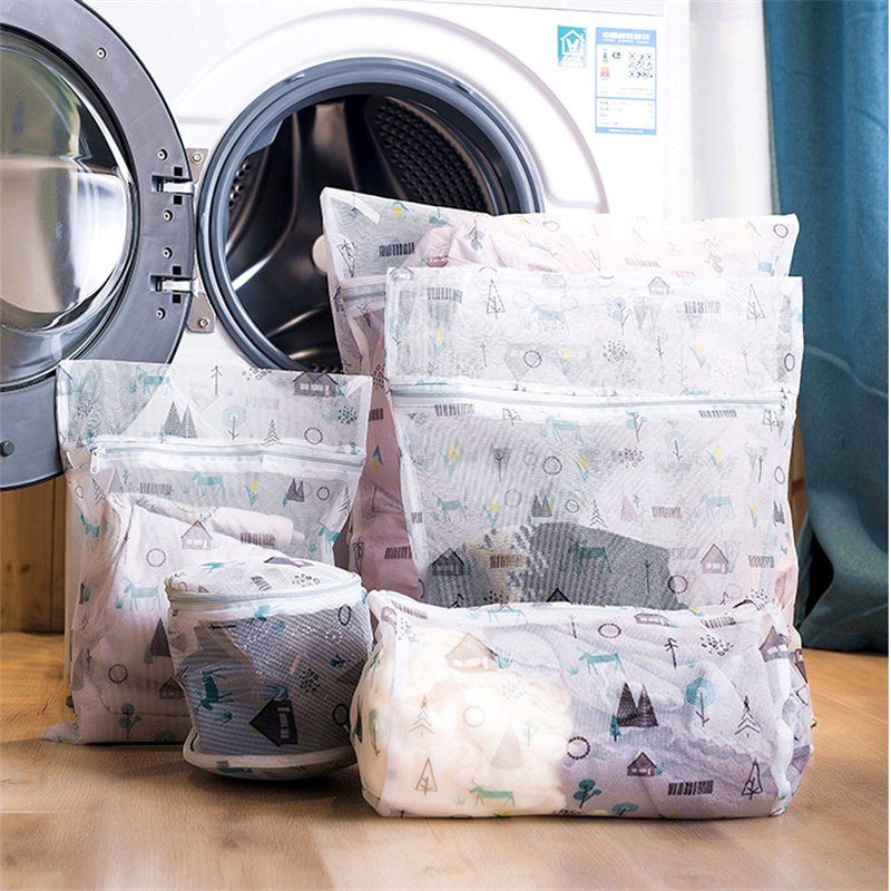 1 Set Zippered Foldable Nylon Laundry Bag Bra Socks Clothes Washing Machine Protection Mesh Bags Underwear Organizer Laundry Bag