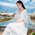 Free Shipping White Lace Dress 2017 New Summer Sexy V-Neck Butterfly Sleeve Elegant Casual Beach Princess Long Dresses