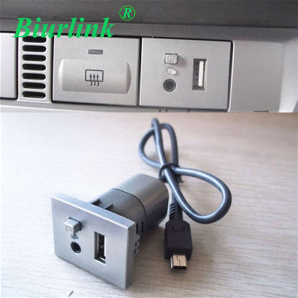 car 2 in 1 aux usb slot button with mini usb cable for. Black Bedroom Furniture Sets. Home Design Ideas