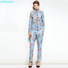 QYFCIOUFU High Quality Fashion Two Piece Set Women Long Sleeves Tops Chiffon Blouse + Runway Printed Casual Pencil Long Pants