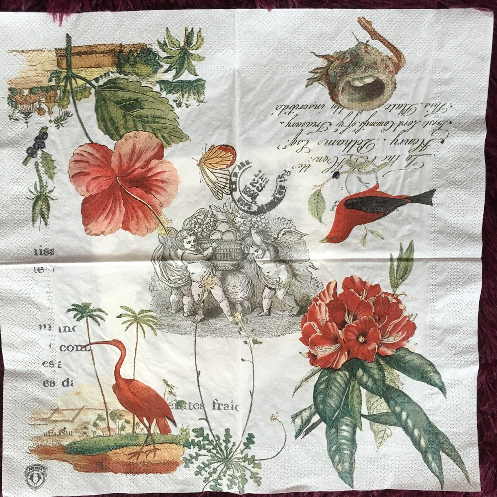Table Napkin Paper Tissue Pattern Vintage Red Flower Bird
