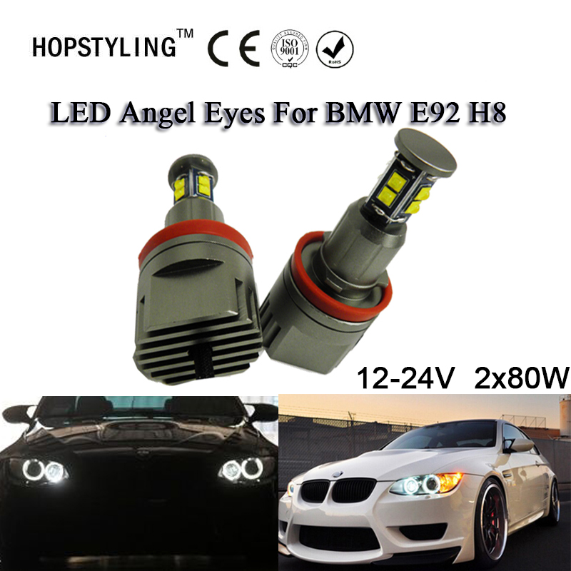 2x80W H8 Angel Eyes C.REE Chips LED Markers Xenon White 7000K For BMW E90 E92 X5 E71 X6 E82 M3 E60 E70 no bulb out warning message 40w h8 led angel eyes halo ring marker light bulbs xenon white 6k for bmw e60 e90 e92 e70 x5 x6