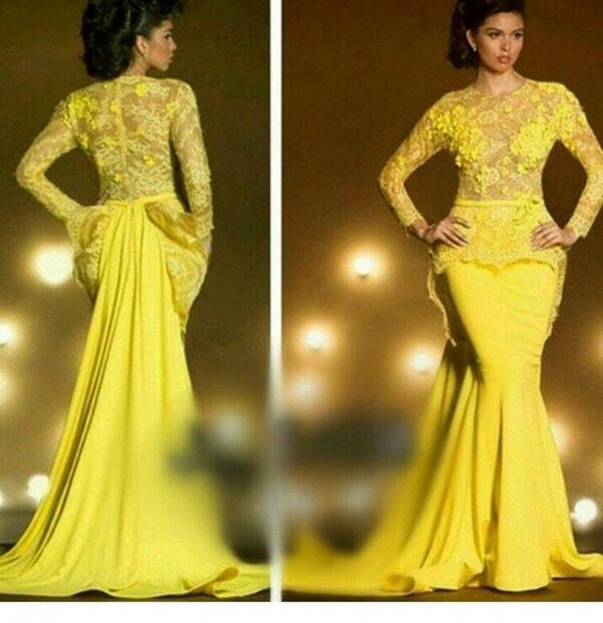 La nouvelle robe musulmane jaune 2019 en soie filée sirène dubaï formelle soirée train de balayage DF469 arabe robe à manches longues robe