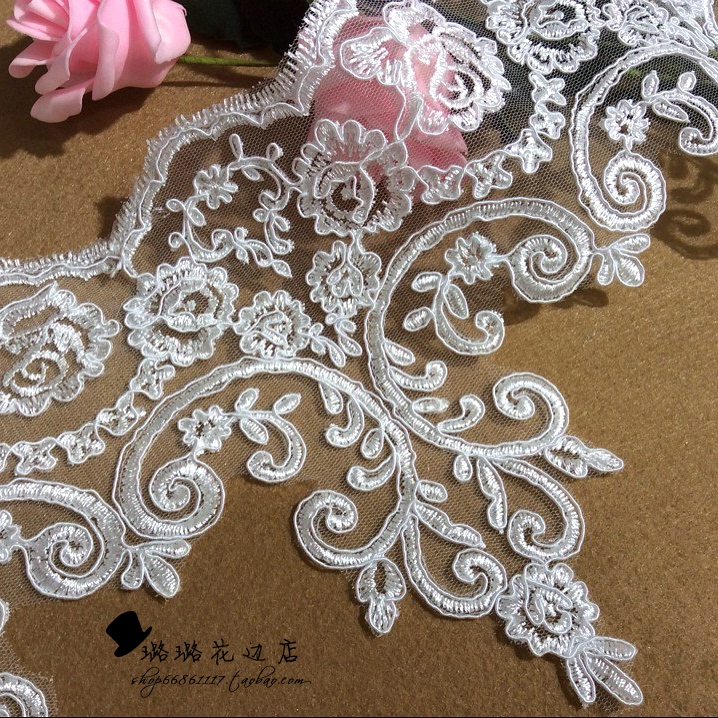 6yard 21cm fashion applique guipure african lace decorate accessory cord flower wedding dress fabric material sew - Gupire Mariage