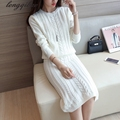 Sweater skirt suit two-piece dress autumn package hip skirt round neck long-sleeved knit two-piece skirt hedging