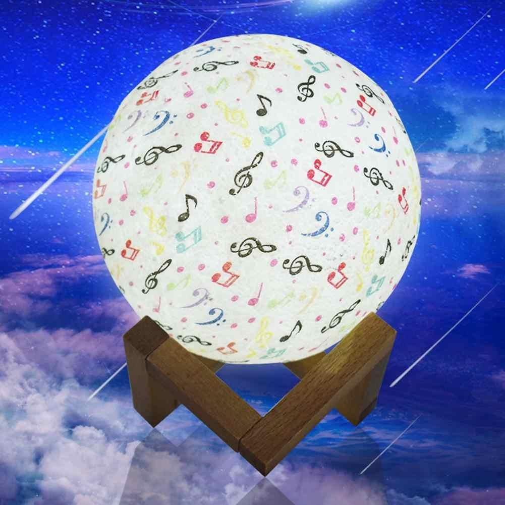 Коснитесь/пульт дистанционного управления 3D Луна Ночник музыка Примечание USB СВЕТОДИОДНЫЙ светильник домашний Декор подарок новый