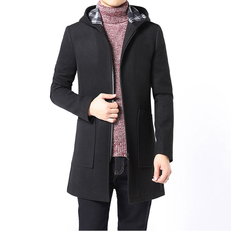 2017 Brand Winter Jacket Coat Men Slim Fit Mens Coat Black Gray Trench Hooded Mens Wool Coats with Big Pocket Long Jackets XXXL mens winter down jackets coats piumino peuterey wool collar double breasted jacket lapel pocket vertical multi pocket jacket