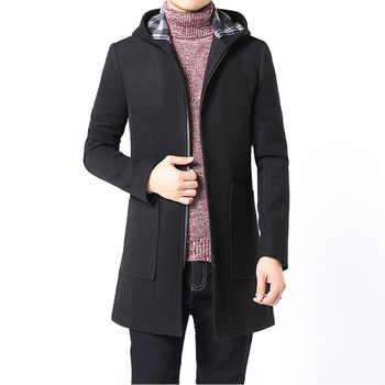 2017 Brand Winter Jacket Coat Men Slim Fit Mens Coat Black Gray Trench Hooded Mens Wool Coats with Big Pocket Long Jackets XXXL - DISCOUNT ITEM  45% OFF Men\'s Clothing