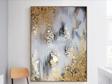 Excellent Artist Hand-painted High Quality Abstract Golden and green Oil Painting on Canvas Luxury Gold Foil wall a