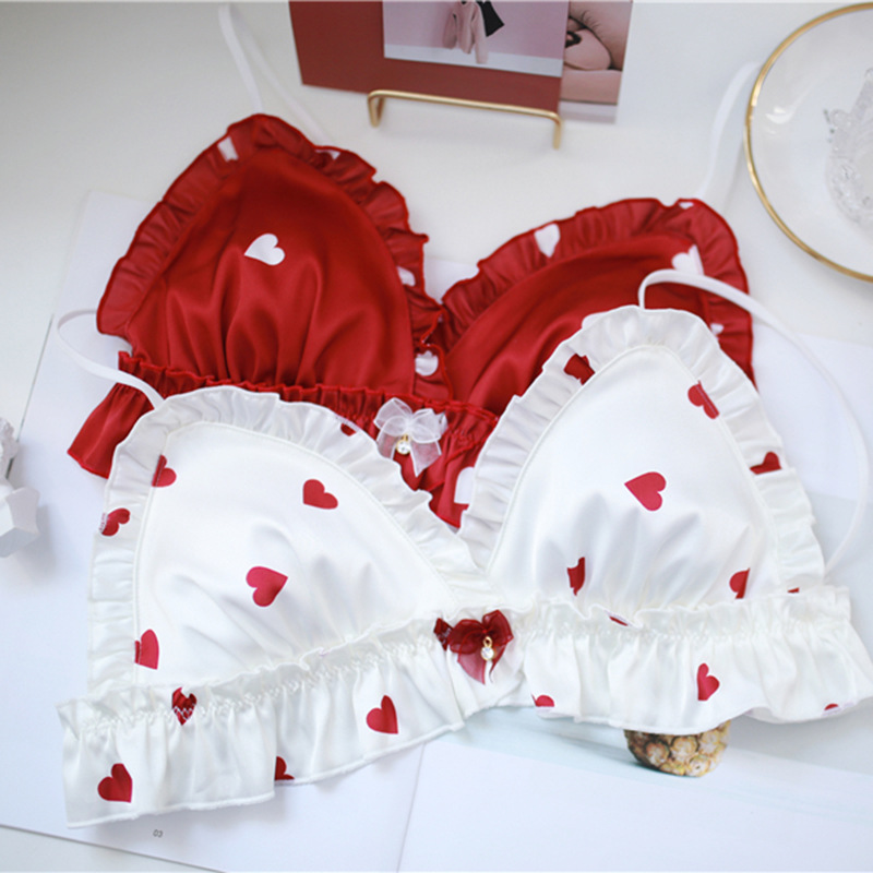 SP&CITY Japan Style Lolita Sexy   Bra     Sets   Red Heart Wavy Lace Sweet Girl Bralette   Set   Women Ruffle Lingerie Cute Bow Underwear