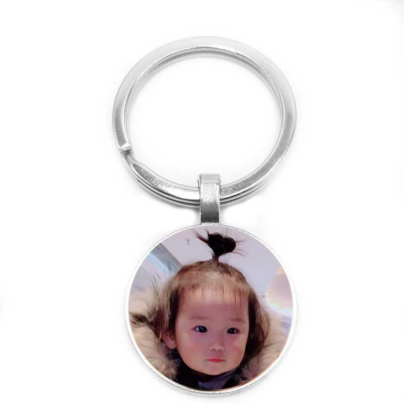 Venda quente Chave Anel Bebê Criança Pai e Mãe de Irmãos e Irmãs Amigos Colegas Vidro de Impressão De Fotos Personalizado Logotipo Chaveiros