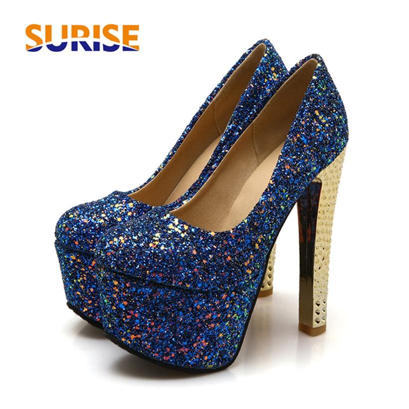 Женские туфли лодочки на платформе и высоком каблуке 15 см; большие размеры; блестящая ткань с блестками; блестящая Свадебная обувь для вечер