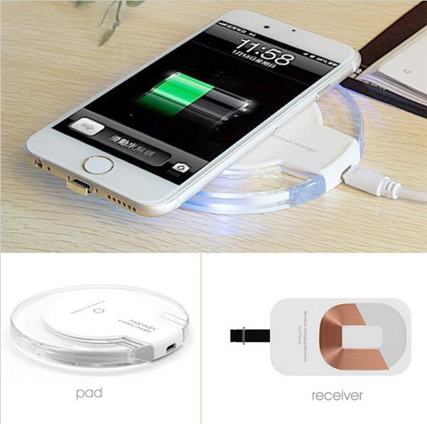 Top quality QI Wireless Power Charger Charging Pad + Receiver Kit For iPhone 5/5S/6/6Plus,white color