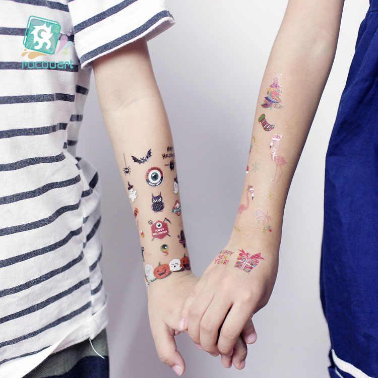 ล่าสุด Halloweens ชั่วคราว tattoo สติกเกอร์ที่น่ากลัวฟักทองการออกแบบหัวเด็กการ์ตูน Tattoo