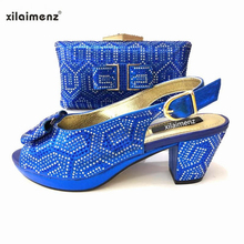 2019 special style royal blue Italian ladies Wedding shoes and clutch to  match decorate with stone. 6 Colors Available 97662990b8a6