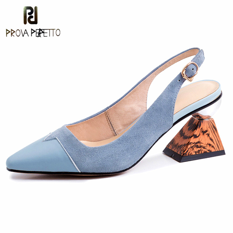 Prova Perfetto Slingback Women Wood Grain Triangle High Heels Work Office Ladies Shallow Shoe Black Apricot Strange Heel Sandals