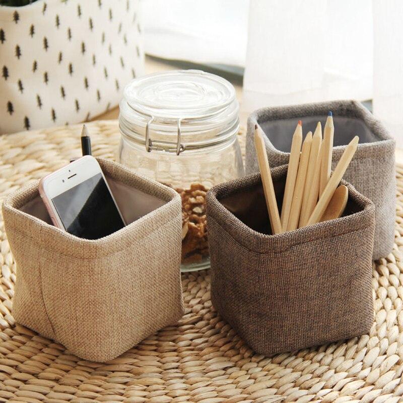 PHANTACI Mini Small Linen Pen Holder Desktop Boxes Cloth Art Brush Pot Photo Props Simple Lovely Box Little Stationery Holders