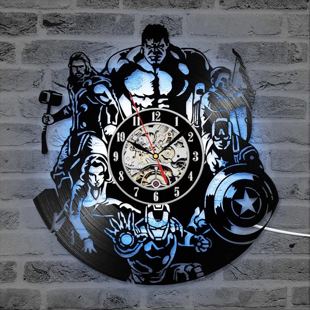The Avengers Shape Vinyl Record Clock Creative Hollow Marvel Comics LED Wall Clock Iron Man&Captain America&Thor Hanging Clock action figure pokemon