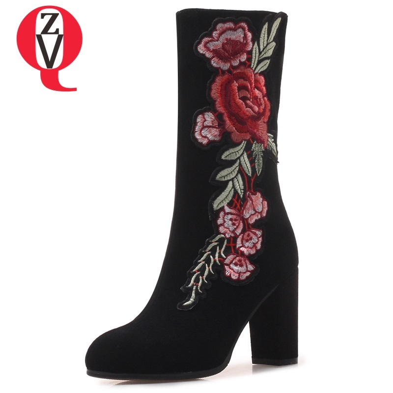 ZVQ women shoes 2018 winter new super high square heel round toe zipper outside warm fashion embroider party mid calf boots zvq 2018 winter hot sale new fashion square toe zipper high square heel genuine leather women ankle boots outside warm shoes