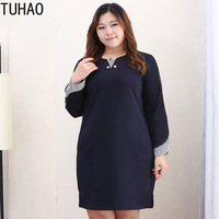 TUHAO 2019 10xl 8xl 6xl Plus Size Woman Split Elegant OL Elegant Dresses Vintage Office Lady Dresses Spliced Striped Dress MS50
