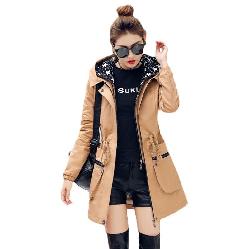 2018 New Spring Autumn Trench Coat Women Causal Long Sleeve Hooded Medium Long Khaki Female Coat Casaco Feminino Coats Z548