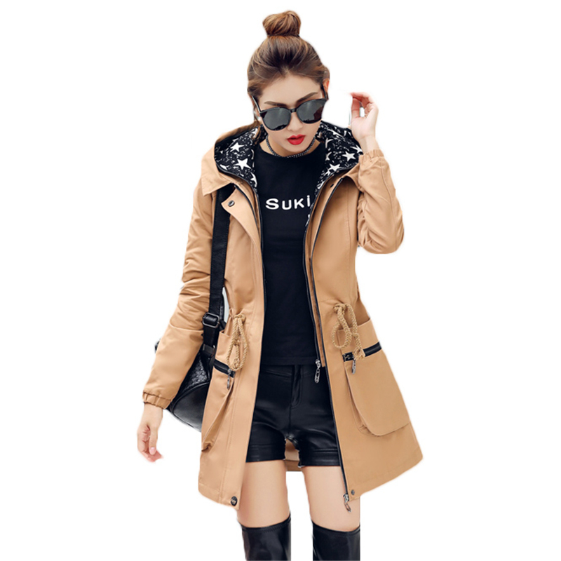 2018 New Spring Autumn   Trench   Coat Women Causal Long Sleeve Hooded Medium Long Khaki Female Coat Casaco Feminino Coats Z548
