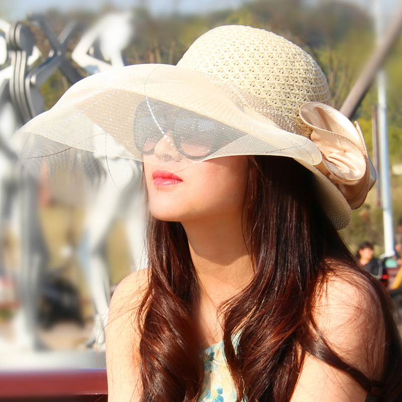 98c7b390b39 Details about Women Summer Wide Brim Sun Hats Lace Beach Cap Travel Outdoor  Straw Hat Holiday