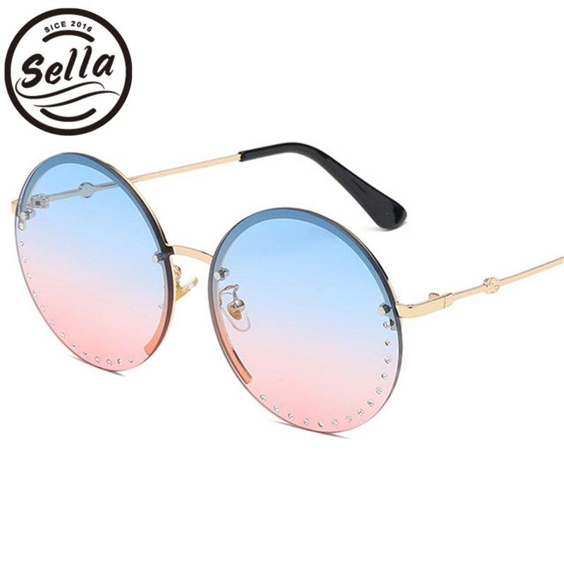 Sella nueva llegada de la manera mujeres Oversized gafas de sol redonda decoración de cristal de lujo Candy Gradient lente aleación marco gafas de sol
