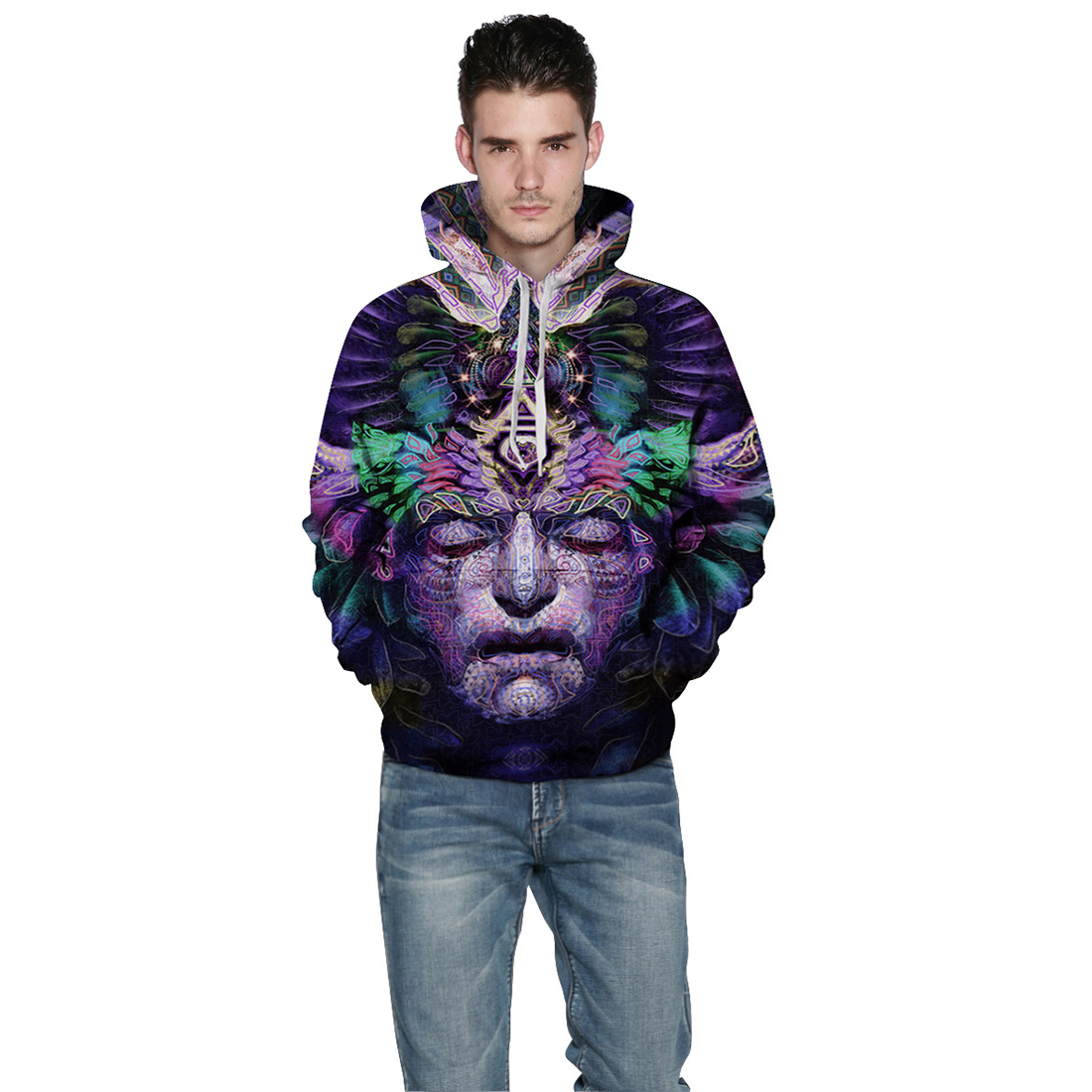 Men/Women New Fashion Hooded Hoodies With Pocket 3d Dreamlike Face Print Sweatshirt Pullover Hoody Tracksuits