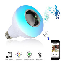 Wireless Bluetooth Speaker+12W RGB Bulb LED Lamp 110V 220V Smart Led Light Music Player Audio with Remote Control E27 B22 home(China)