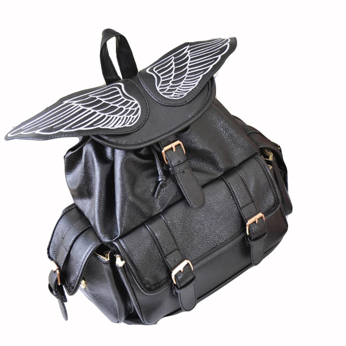 ФОТО YEJIA FASHION Angel Wings Black Backpack Large Capacity Casual School Bag PU Leather Travel Street Back Bags Satchel