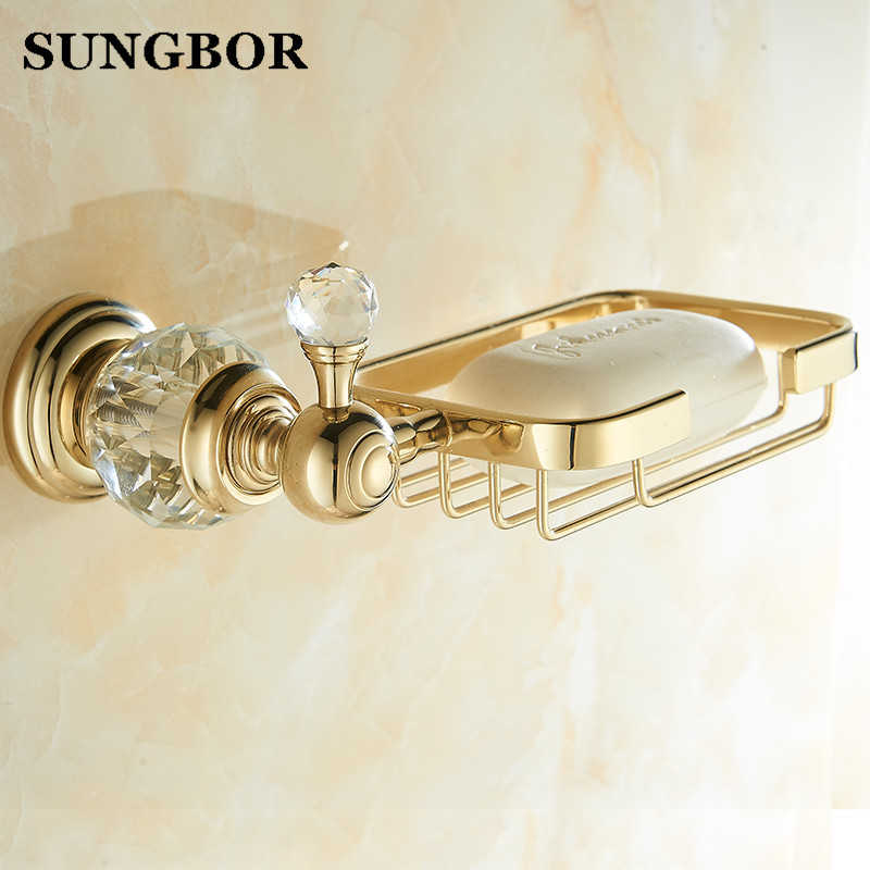 Solid brass Crystal & Gold Bathroom Accessories Soap Dishes / Soap Holder/Soap Case home decoration Free Shipping SH 99905K