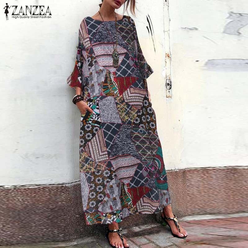 Us 1396 40 Offwomens Floral Sundress 2019 Zanzea Kaftan Printed Maxi Dress Long Sleeve Summer Vestidos Female Casual Tunic Robe Oversized 5xl In