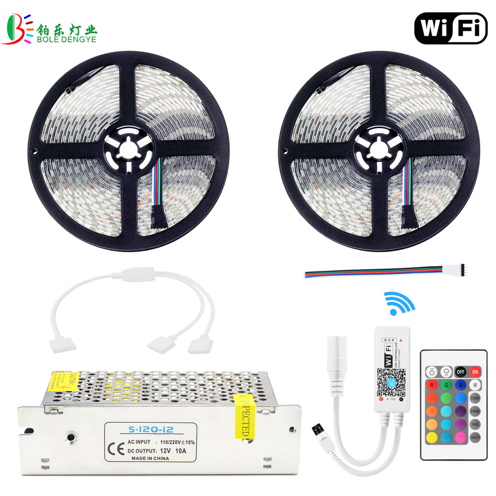 RGBW LED Strip 10M Waterproof RGBWW WIFI Diode Tape 5050 RGB Warm White Fita Mini WIFI RGBW Controller DC12V LED Power Supply good group diy kit led display include p8 smd3in1 30pcs led modules 1 pcs rgb led controller 4 pcs led power supply