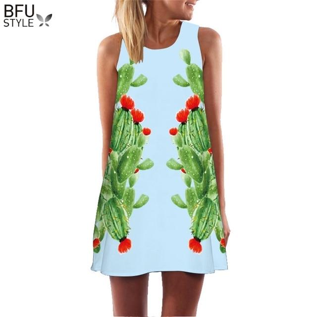 النساء الشاطئ اللباس الإناث الصبار نبات 3D طباعة البوهيمي بوهو فساتين الصيف التحول الملابس مثير البسيطة قصيرة خمر الرجعية Vestido