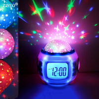 Children LED Night Light Music Starry Star Sky Led Projection Lazy Projector Alarm Clock Calendar Thermometer