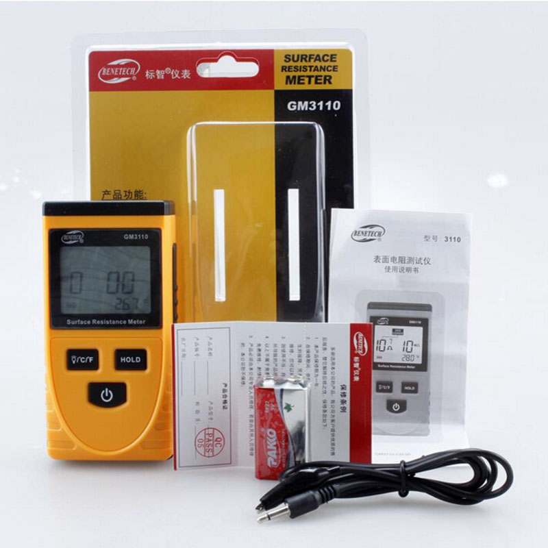 Handheld Lcd Display Surface Resistance Tester Meter with Data Holding Ambient Temperature Measurement Lcd Display zl06 1a 2a resistance load measurement data line artifact measurement of internal resistance of charging wire type c