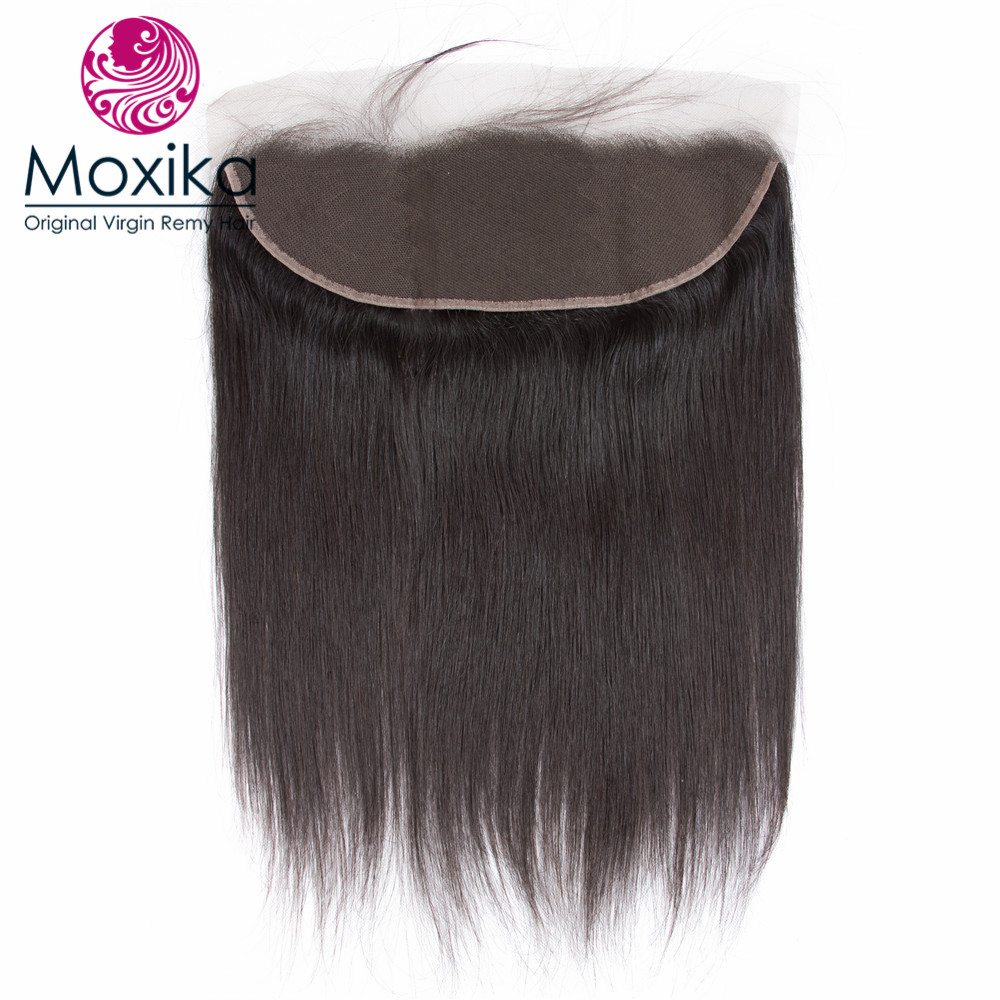 Moxika Hair Brazilian Virgin Hair With Closure Straight Pre Plucked Ear To Ear Lace Frontal Closure
