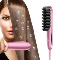 USHOW LCD Display Electric Hair Straightener Brush Ionic Ceramic Hair Straightener Brushes Fast Heating Comb