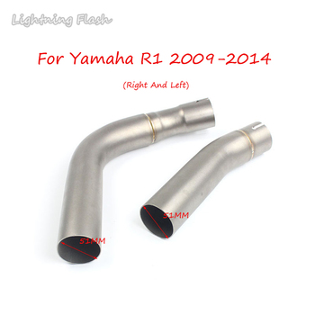For Yamaha R1 51mm Motorcycle Exhaust Middle link Pipe Stainless Steel Left Right Elbow Mid Pipe Motorbike Modified 2009-2014