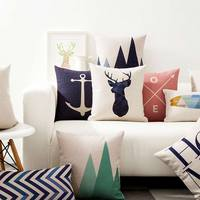 Free Shipping Nordic Geometric Square Throw Pillow Almofadas Case Adult Teen Child Kid Scenic Deer Cushion