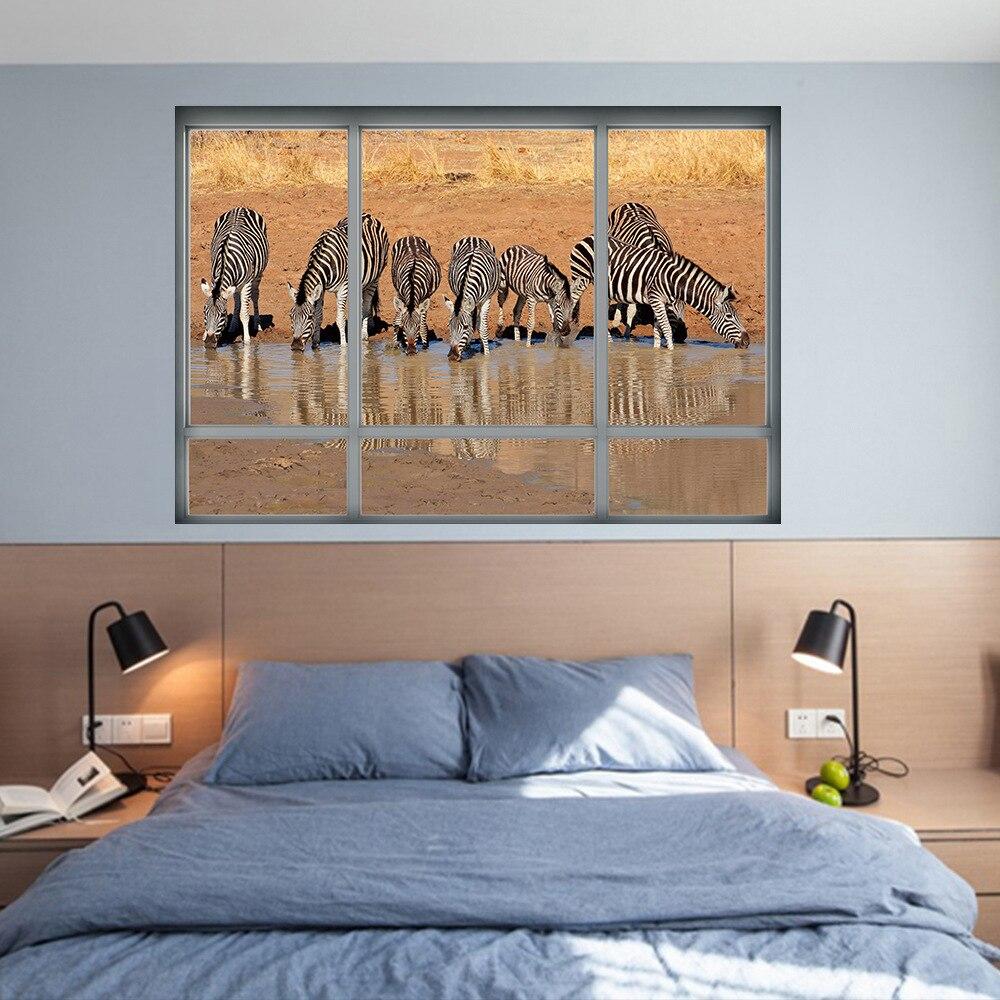 3d Simulation Fake Windows Wall Stickers Bedroom Zebra Poster Home Decor Living Room