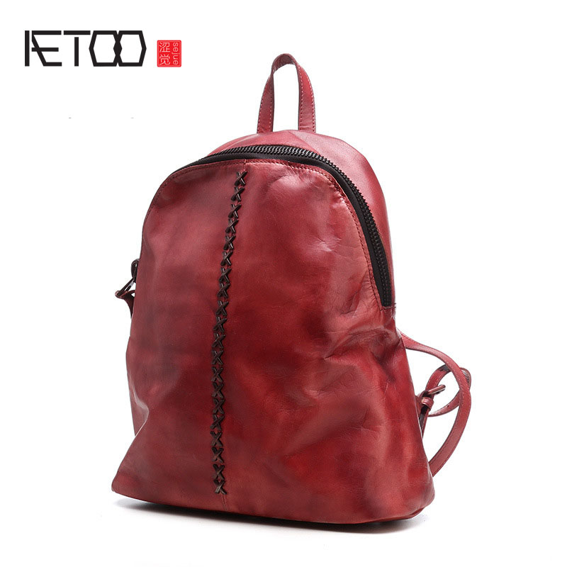 AETOO 2017 new retro cowhide bag bag wild shoulder bag casual leather first layer of leather aetoo first layer of leather shoulder bag female bag korean version of the school wind simple wild casual elephant pattern durab